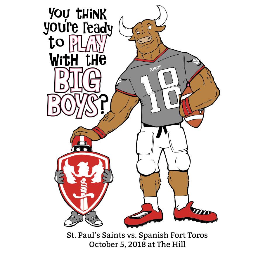 st-pauls-spanish-fort-football-game-illustration-electric-mustache-design-custom-artwork
